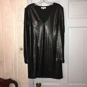 Black sequence long sleeve dress